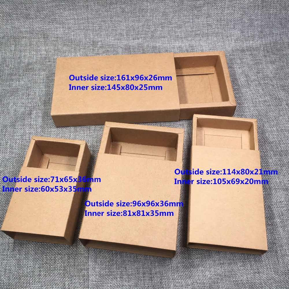 20pcs/lot Blank Kraft Paper Drawer Boxes Black Paperboard Packaging Box DIY Handmade Soap Craft Jewel Party Gift Boxes