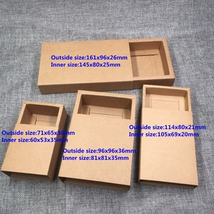 Image 1 - 20pcs/lot Blank Kraft Paper Drawer Boxes Black Paperboard Packaging Box DIY Handmade Soap Craft Jewel Party Gift Boxes