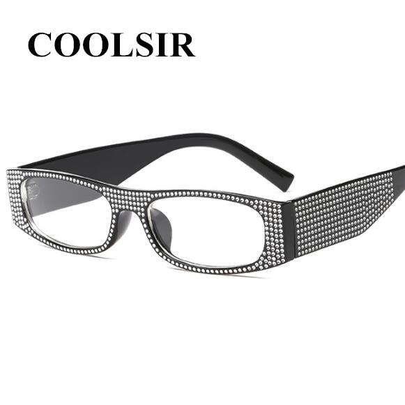 COOLSIR Small Square Sunglasses Women Imitation Diamond Sung Lasses Retro Evening Glasses Cross Fashion UV400
