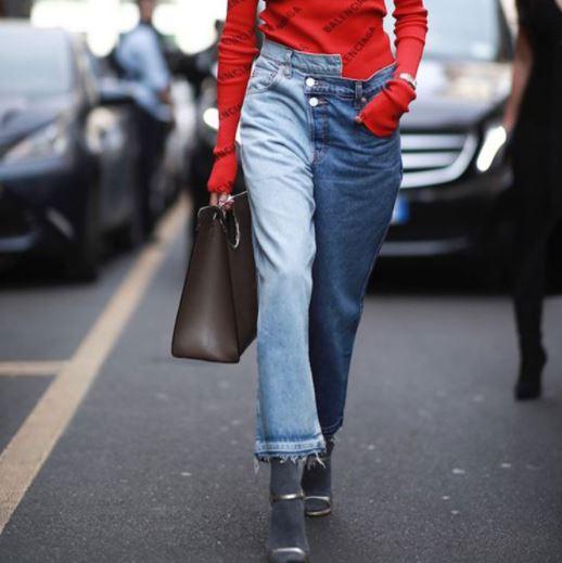 Jean femme 2019 Spring Women s Blue Patchwork Wide Leg Jeans