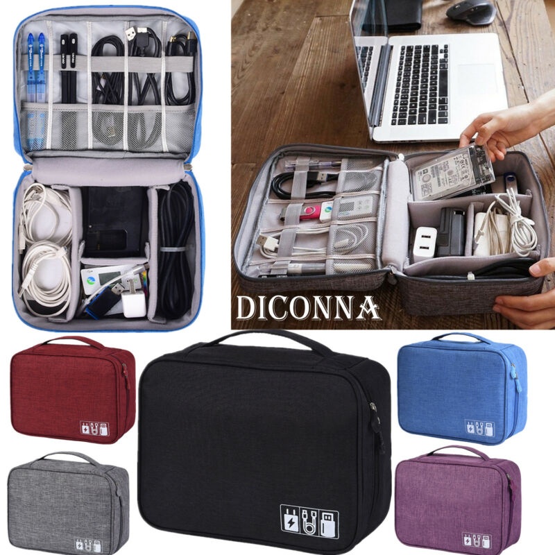 Electronics Accessories Organizer Travel Storage Bags USB Cable Case Waterproof