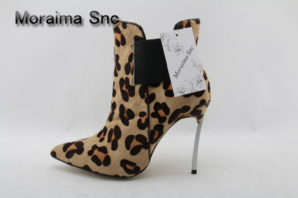 Moraima Snc Sexy women ankle boots pointed toe slip-on Leopard metal thin high heel shoes women for girls Elastic short boots moraima snc red boots transparent high heels boots women square toe mid calf rainboots sexy ankle boots for women bottine femme