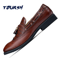 TOURSH Mens Loafers With Tassels Formal Shoes Mens Italian Loafers Dress Loafers Men Luxury Wedding Male Shoes Office Flats Red