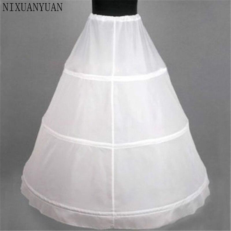White 3-HOOP Ball Gown BONE FULL CRINOLINE PETTICOAT WEDDING SKIRT SLIP