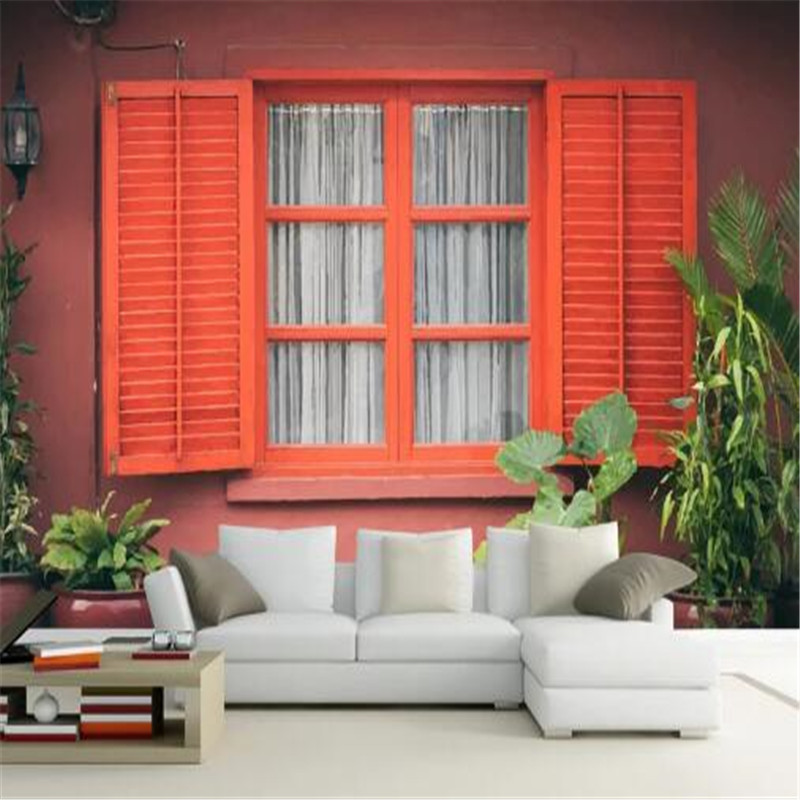 3D Window Wall Murals Non-Woven Wallpapers Red Shutters Photo Wall Papers Home Decor Living Room Green Tree Painting Wallpapers custom photo size wallpapers 3d murals for living room tv home decor walls papers nature landscape painting non woven wallpapers