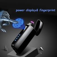Podwójnym łukiem plazma USB Pulse wiatroszczelna poczucie indukcyjna zapalniczki Metal elektroniczny inteligentny moc wyświetlacza zapalniczki w Akcesoria do papierosów od Dom i ogród na