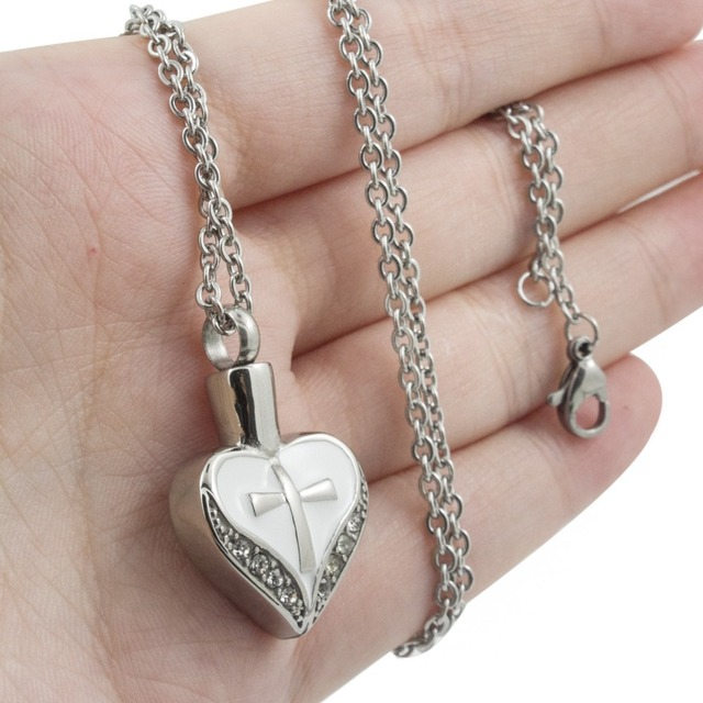 Vintage Cross Heart Urn Necklace