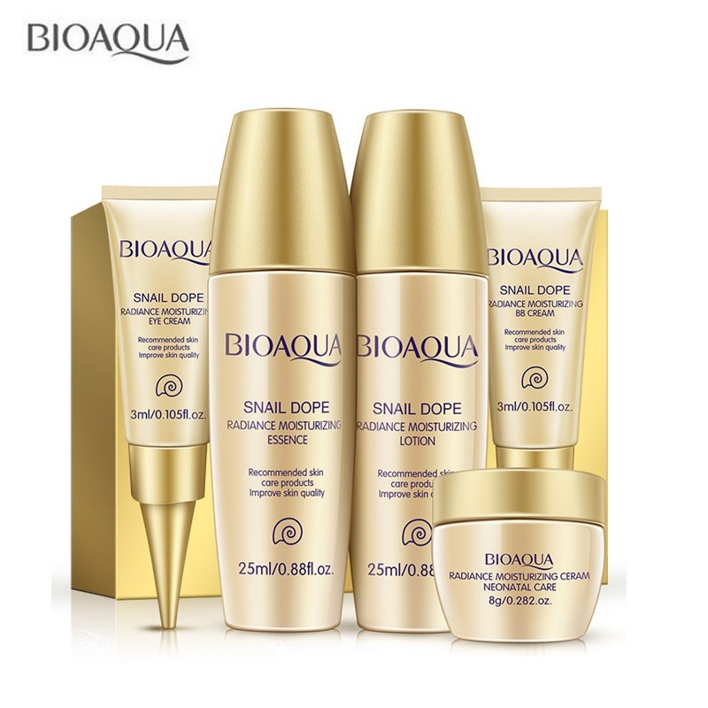 5Pcs/Set BIOAQUA Snail Makeup Skin care Kits Moisturizing Hydrating Nourishing Oil Control Anti acne Serum Lotion Eye Cream ogx nourishing coconut oil weightless hydrating oil mist