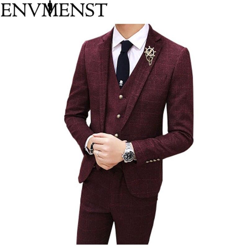 2f1cf9253fb Env для мужчин st 2019 мужской свадебный Пром костюм Slim Fit повседневное  бизнес рабочие костюмы 3