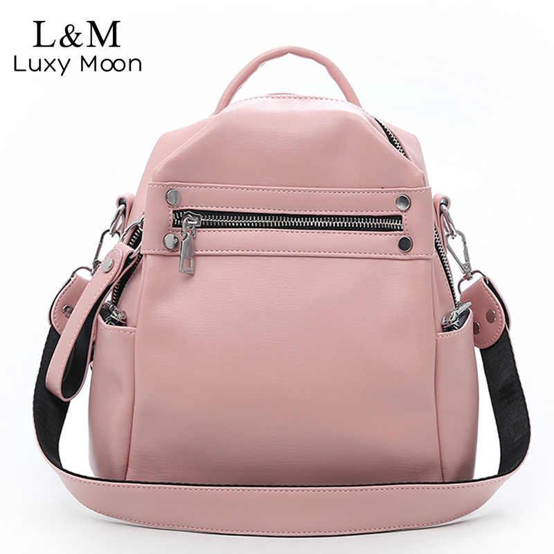 09c0b6672d23 Мягкий кожаный рюкзак Для женщин многофункциональный сумка для девочек-подростков  школьная сумка женский сплошной дорожные