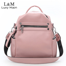 Купить с кэшбэком Soft Leather Backpack Women Multi-function Shoulder Bag Teenage Girls School Bag Female Solid Travel Bags mochila Black XA402H