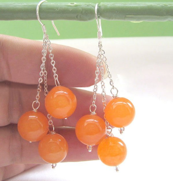 Beautiful 12mm perfect round orange jade earring