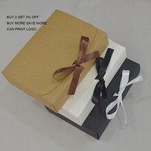 10pcs 12 Size Large Gift Box White Black Craft Box Large kraft Box For Candy Wedding Birthday Gift Paper Box With Ribbon marvis black box gift set