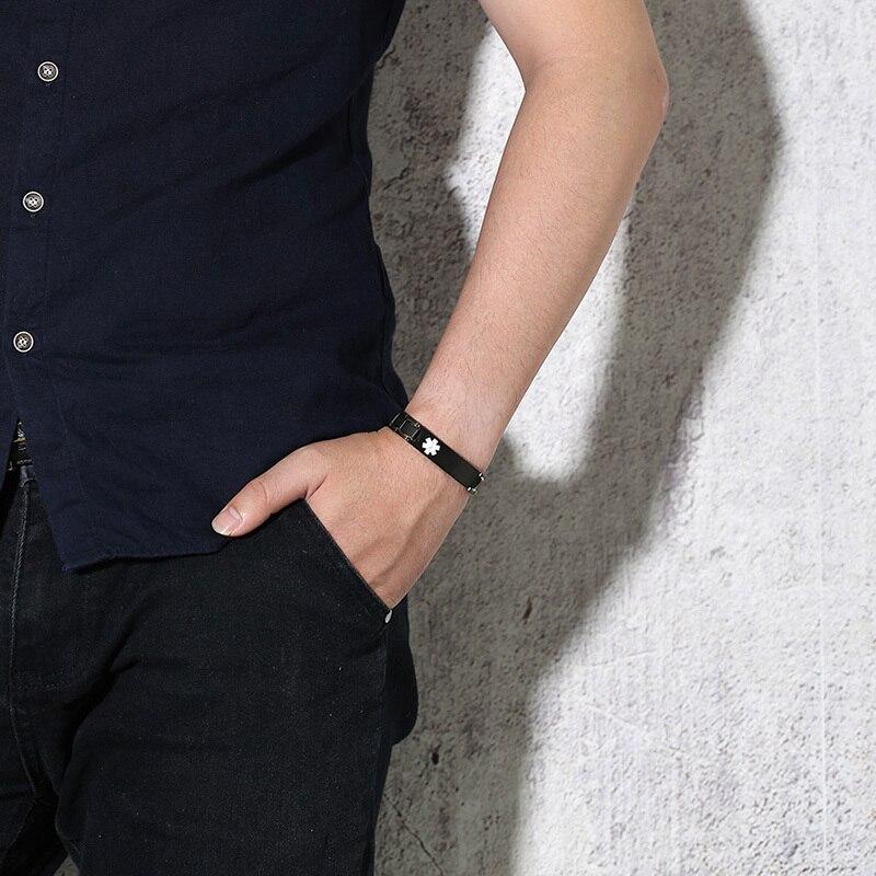 Черный магнитотерапия браслет Нержавеющаясталь с медицинской тревоги ID тегов Браслет Пользовательские мужской ювелирные изделия Диабет ...