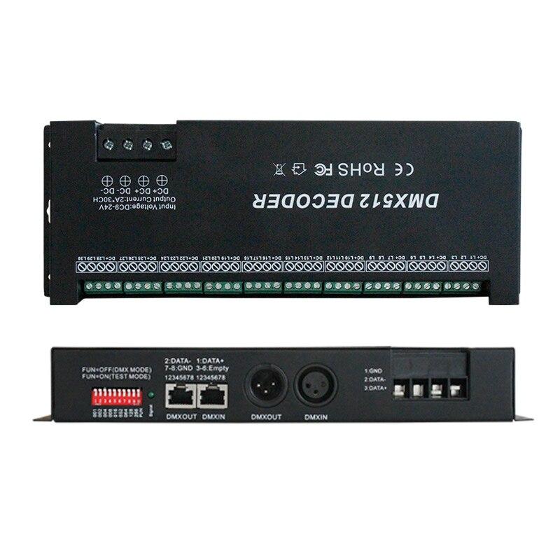 2-Pack RGB DMX dekodér 30 kanál 60A DMX stmívač ovladač 24/27 kanál pro 10 skupin RGB led Strip Controller DC12-24V