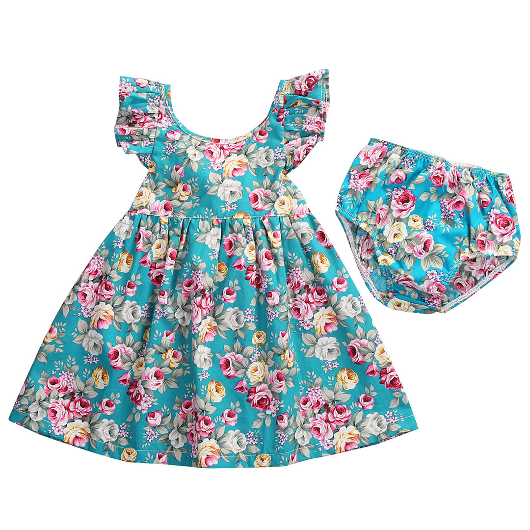 Toddler Infant Kids Baby Girl Dress Blue Floral Ruffle Sundress Girls Summer Dresses Briefs Outfits Casual Children Clothing