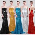 Рукавов сексуальная мода длинное вечернее платье русалка небольшой хвост золотой черный синий серебро красные блестки vestido де феста лонго OL3301
