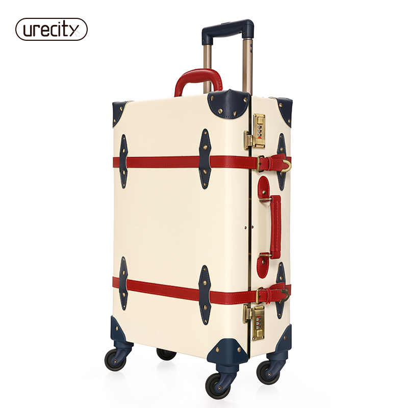 2018 NEW Retro Travel Suitcase Spinner Luggage Rolling Travel Suitcases With Wheels Free Shipping High Quality Handmade Big Plus
