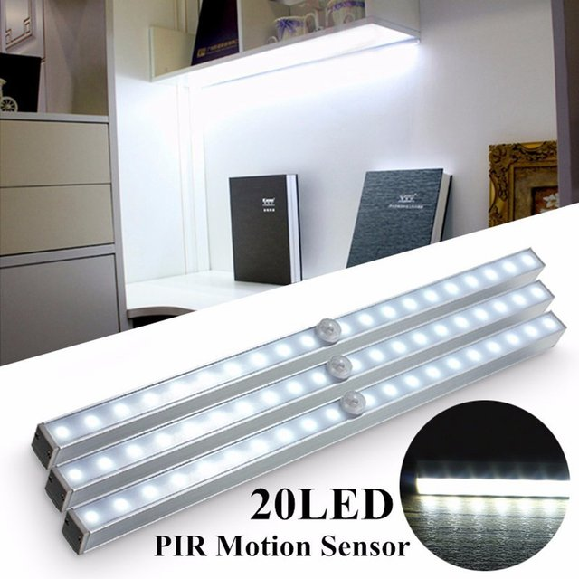20 LED Wireless Pir Motion Sensor Night Light Under Cabinet Stairs Step  Closet Battery Lamp For