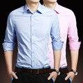 Men Shirt Long Sleeve 2017 Brand Shirts Men Casual Male Slim Fit Solid Business Lattice Chemise Mens Camisas Dress Shirts 5XL VQ