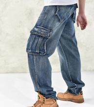 Мужчина широкий джинсы хип-хоп скейтборд мешковатые штаны джинсовые брюки хип-хоп мужчин ad рэп джинсы большой размер 30 — 46