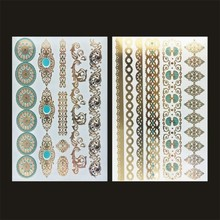 2Pcs/lot Body Art Painting Metal Tattoo Stickers Gold Silver Temporary Flash Tattoo Disposable Indians Tattoos Tatoo