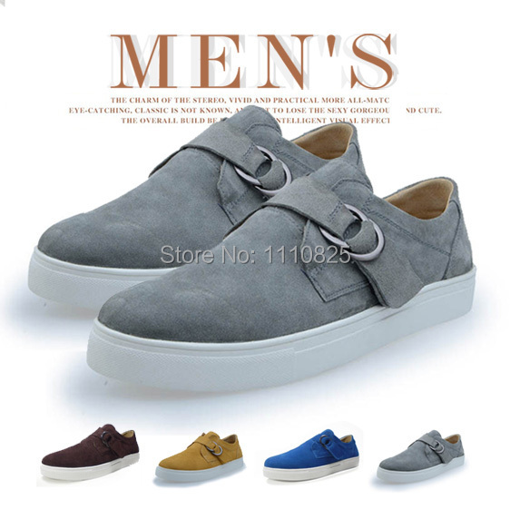 ФОТО Free shipping, autumn and winter Leather men's casual shoes, British suede Flats ( Brown / Blue / Grey / Yellow ) Size:44-49