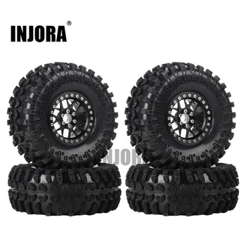 INJORA 4PCS 2.2 Inch Beadlock Wheel Rims & Rubber Tire for 1/10 RC Rock Crawler Axial SCX10 RR10 AX10 Wraith 90048 90018 KM2 1