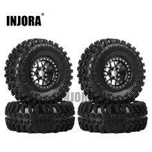 INJORA 4 個 2.2 インチビードロックホイールリム & ラバータイヤ 1/10 Rc ロッククローラー軸 SCX10 RR10 AX10 レイス 90048 90018 KM2