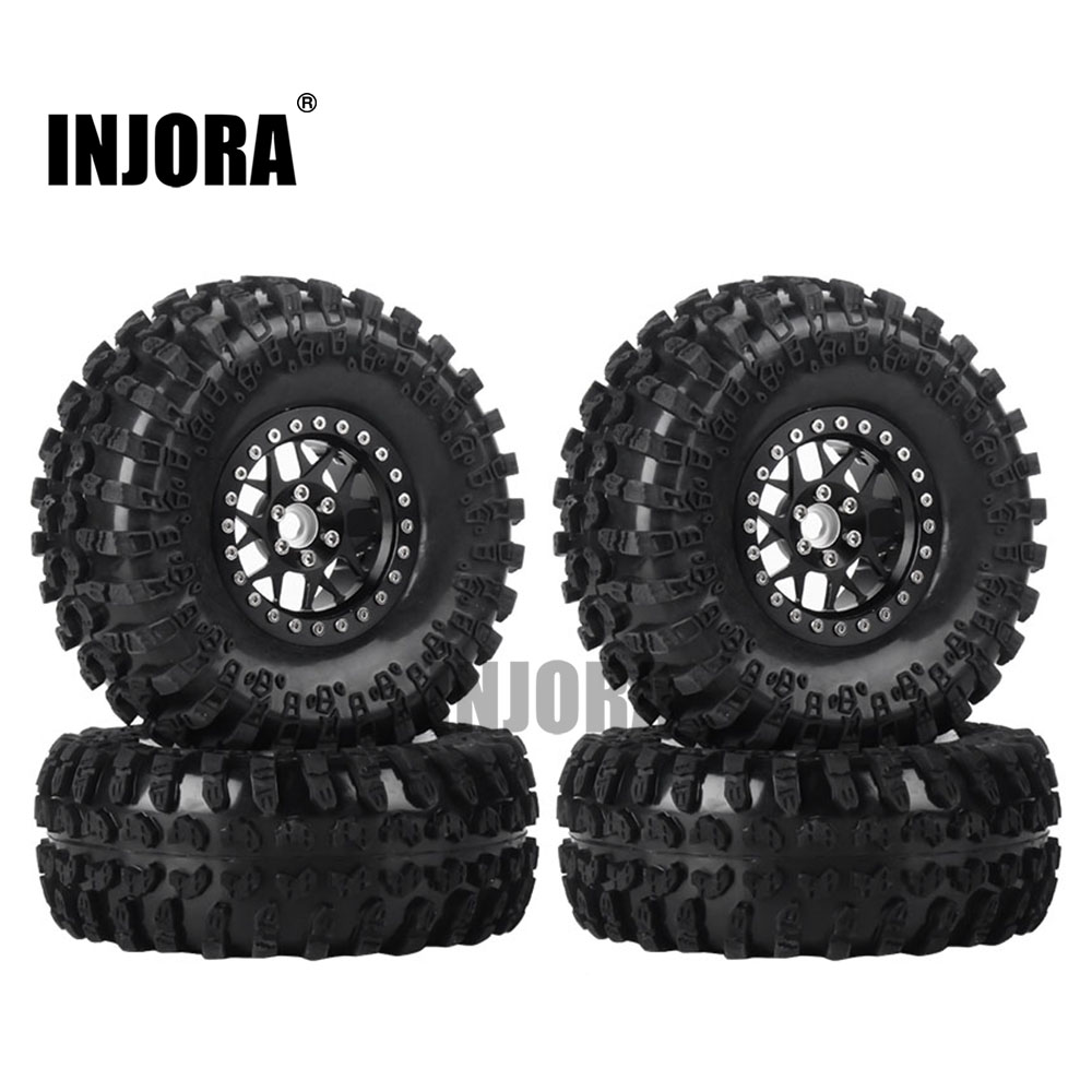 INJORA 4PCS 2.2 Inch Beadlock Wheel Rims & Rubber Tire For 1/10 RC Rock Crawler Axial SCX10 RR10 AX10 Wraith 90048 90018 KM2