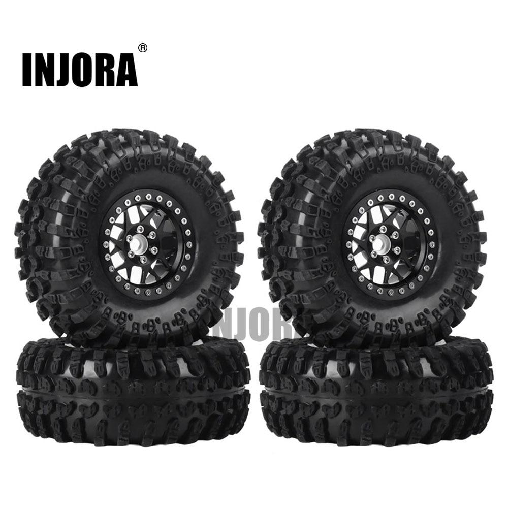 INJORA 4PCS 2.2 Inch Beadlock Wheel Rims & Rubber Tire For 1/10 RC Rock Crawler Axial SCX10 RR10 AX10 Wraith 90048 90018 KM2