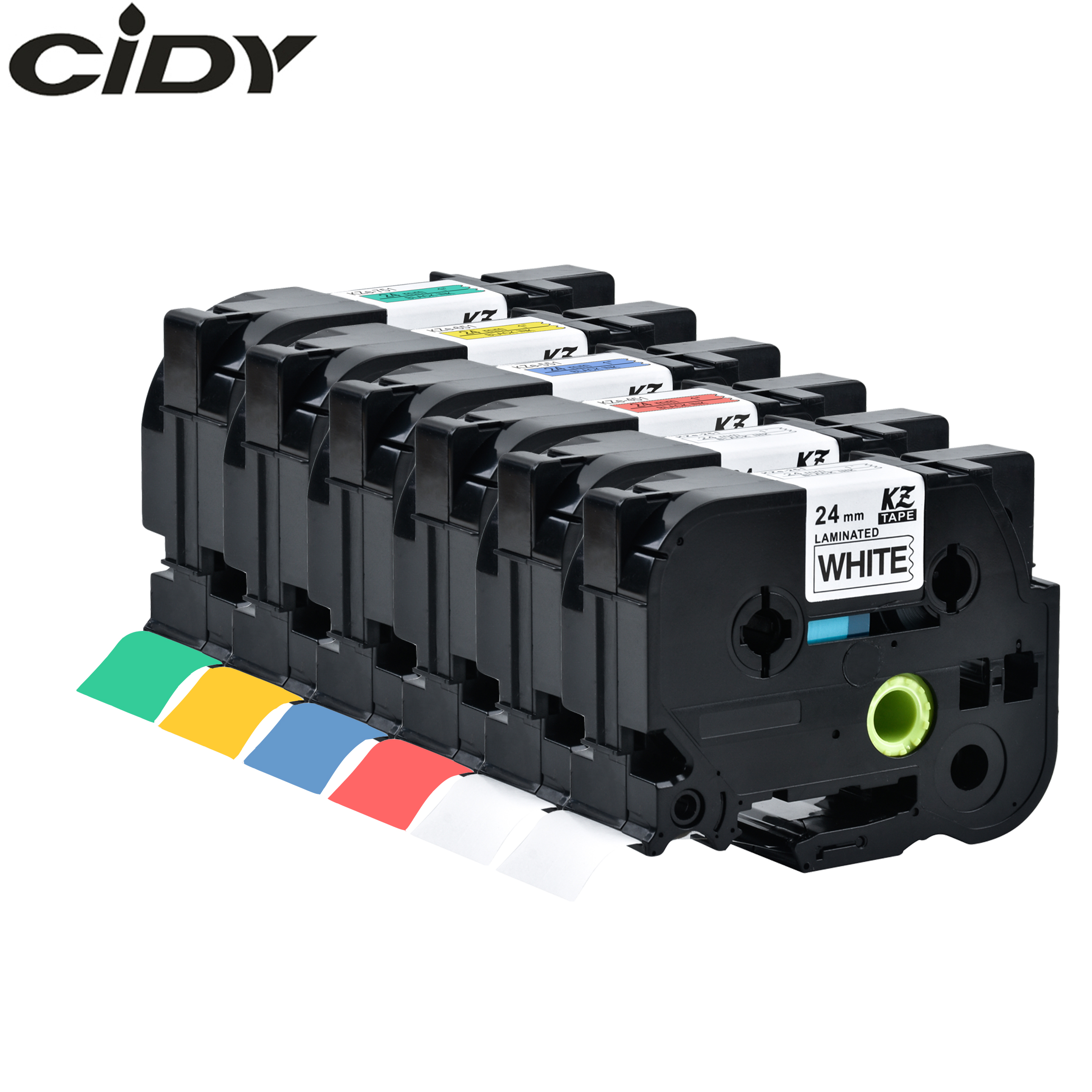 CIDY Multicolor Compatible Laminated Tze 251 Tze251 24mm Black On White Tape Tze-251 Tz-251 For Brother P-touch Printer Tze-151