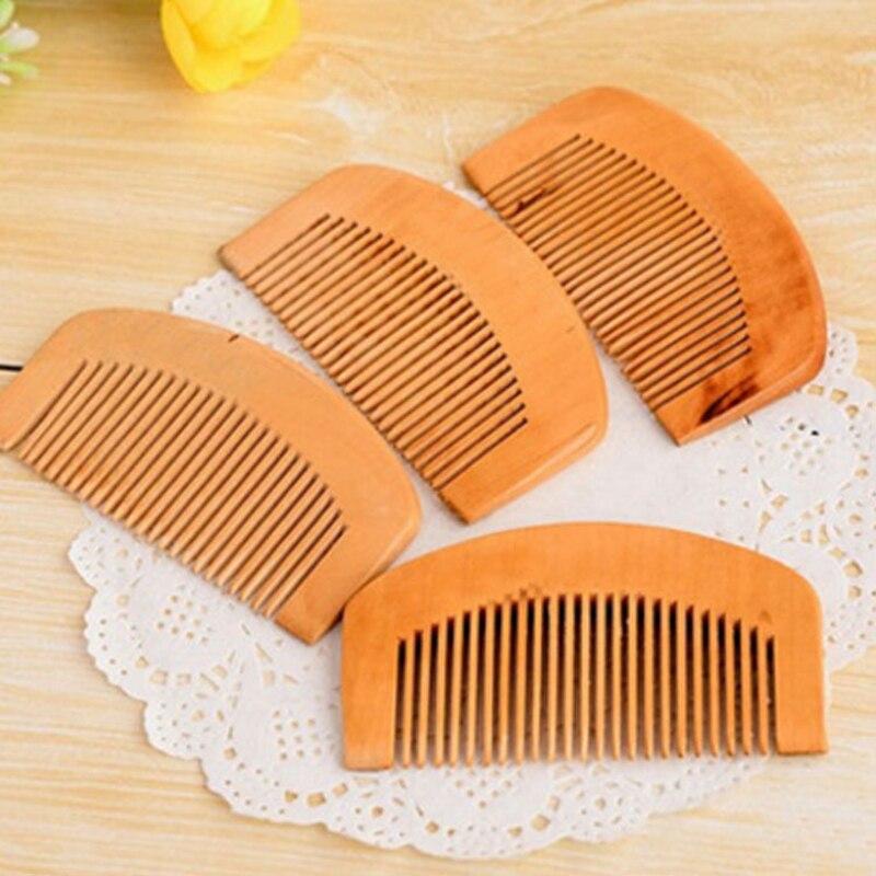 Купить с кэшбэком Natural Wide Tooth Wood Comb Peach Wood Wooden Hair Brush No-static Massage Hair brushes Health 9cm Wood Hair Comb Styling Tools