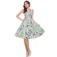 Vestidos 2016 New Fashion Women Summer Vintage Dress Elegant Plus Size Floral Print V Neck Knee