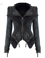 Women Denim Short Jacket Outwear Punk Spike Studded Shrug Shoulder Cropped Retro Lapel Zipper Coat 63