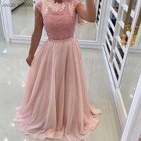 Ангел NOVIAS Длинный розовый шифон Жемчуг Abendkleider 2018 Саудовская Арабский Вечерние платья 2018 вечернее платье Свадебная вечеринка платье