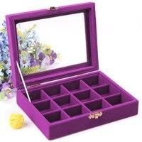 12 Grid Portable Purple Color Bijou Box Display Organizer Storage Case Jewelry Bead Earrings Storage