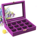 12 Grid Portable Purple color Bijou Box Display Organizer Storage Case Jewelry Bead Earrings Storage