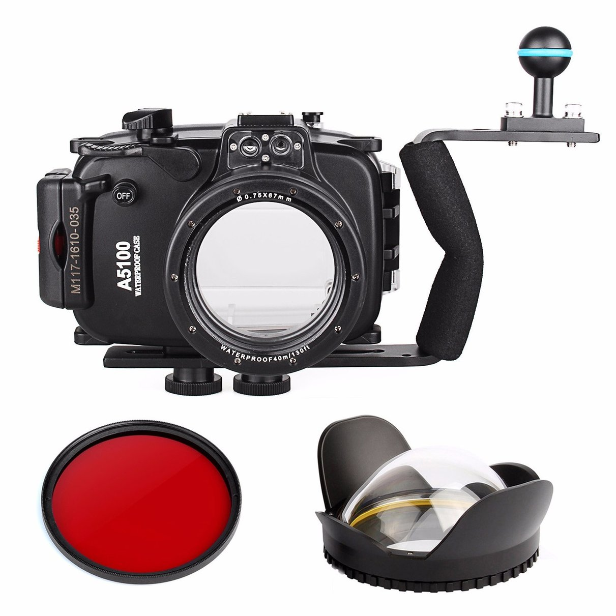 40m 130ft Waterproof Underwater Camera Housing Case Bag for Sony A5100 16-50mm Lens + Diving handle + Fisheye Lens + Red Filter 40m 130ft waterproof underwater camera diving housing case aluminum handle for sony a7 a7r a7s 28 70mm lens camera