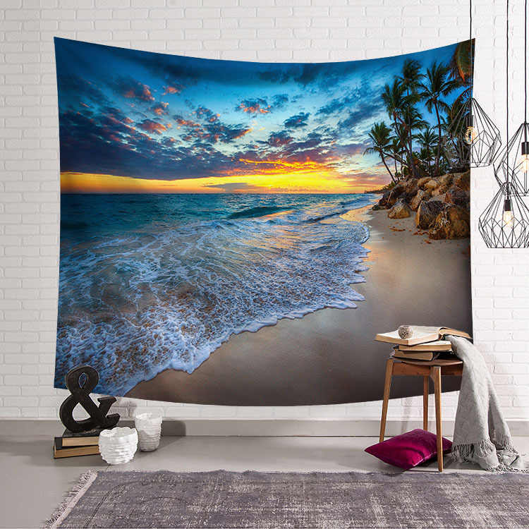 CAMMITEVER Blue Sky White Cloud Sea Beach Coconut Tapestry Wall Hanging Scenic Tapestries Bedspread Picnic Bedsheet Blanket