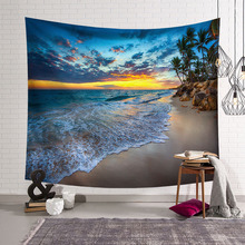 CAMMITEVER 푸른 하늘 흰 구름 바다 해변 코코넛 태피스트리 벽 교수형 경치 좋은 태피스 트리 침대보 피크닉 Bedsheet 담요