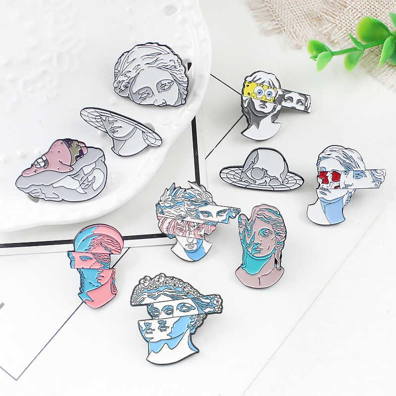 10 Individu Kreatif Seni Patung Enamel Bros Kartun Historis Patung Pin Jeans Kerah Perhiasan Gypsum Perhiasan Hadiah