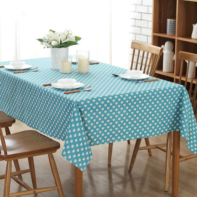 Fashion Modern Love Printing Cotton Linen Table Cloth Dustproof Dinner Tablecloths Blue Pink Red Black