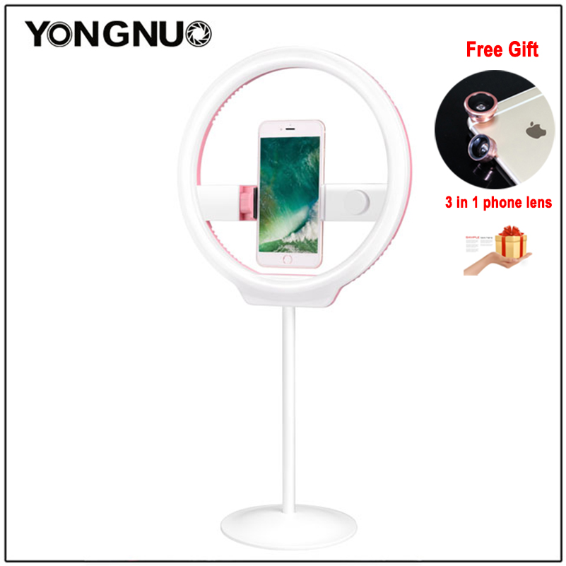 YONGNUO YN128 Camera Photo/Studio/Phone/Video 128 LED Ring Light 3200K-5500K Photography Dimmable Ring Lamp For Iphone 7/7 plus цена и фото