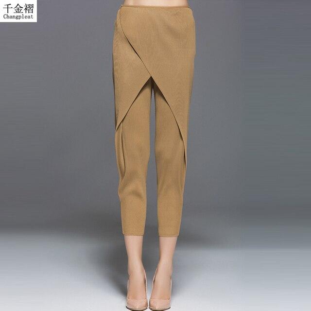 b3d93e8cf82a New arrival High-end fashion Miyake Pleats women s pants original design Large  size solid elastic