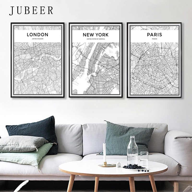 Лондон, Париж, Нью-Йорк, карта городов мира, плакаты в скандинавском стиле, настенные художественные картины на холсте, черно-белая живопись для гостиной