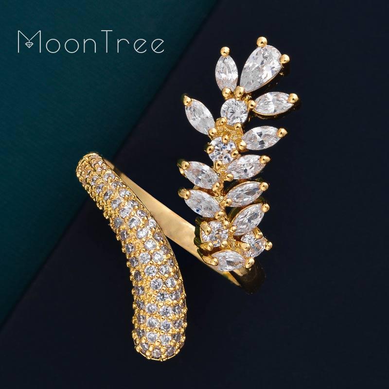 Verlobung Moontree Luxus Schmetterling Volle Cubic Zirkon Kupfer Frauen Braut Hochzeit Ring Modeschmuck