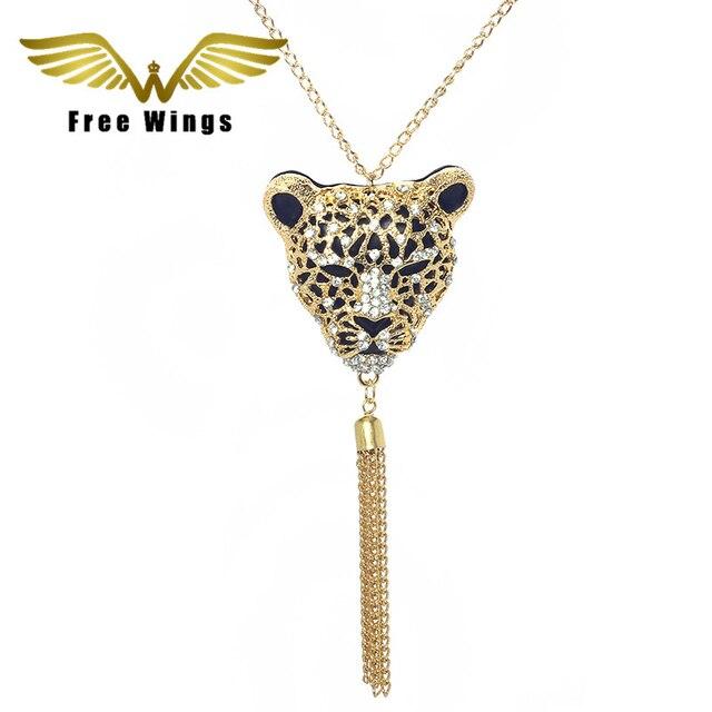 2016  Retro Vintage Fashion   Leopard  Tassel Pendants Necklaces Women Jewelry  N009 B2.9 10d