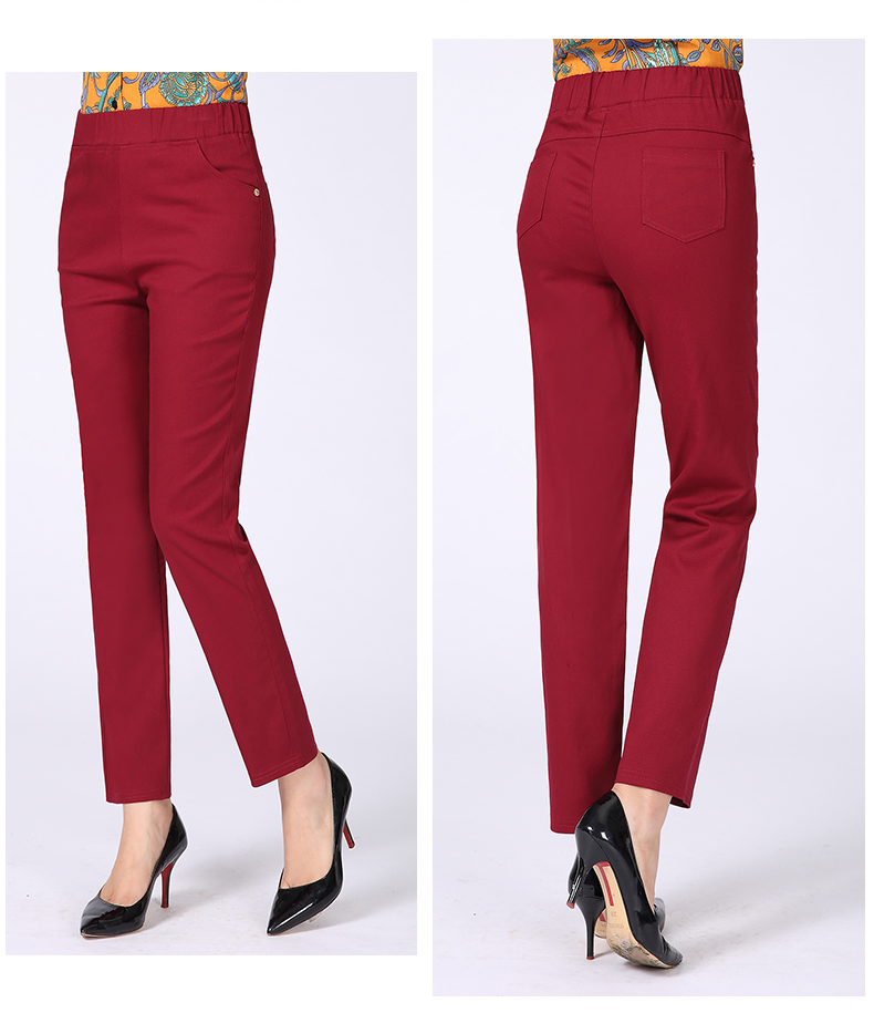 Women Casual Pants Plain Color Basic Trousers Spring Autumn Pantalones Mujer High Elastic Band Waist Pant Red White Gray Black (15)