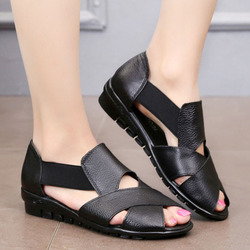 Flats Women Loafer Shoes Women genuine leather shoes casual slip-on ballet women Flats Cut out Solid  Ladies Casual shoes black 3